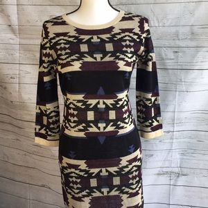 Aztec print 3/4 sleeve sweater dress medium